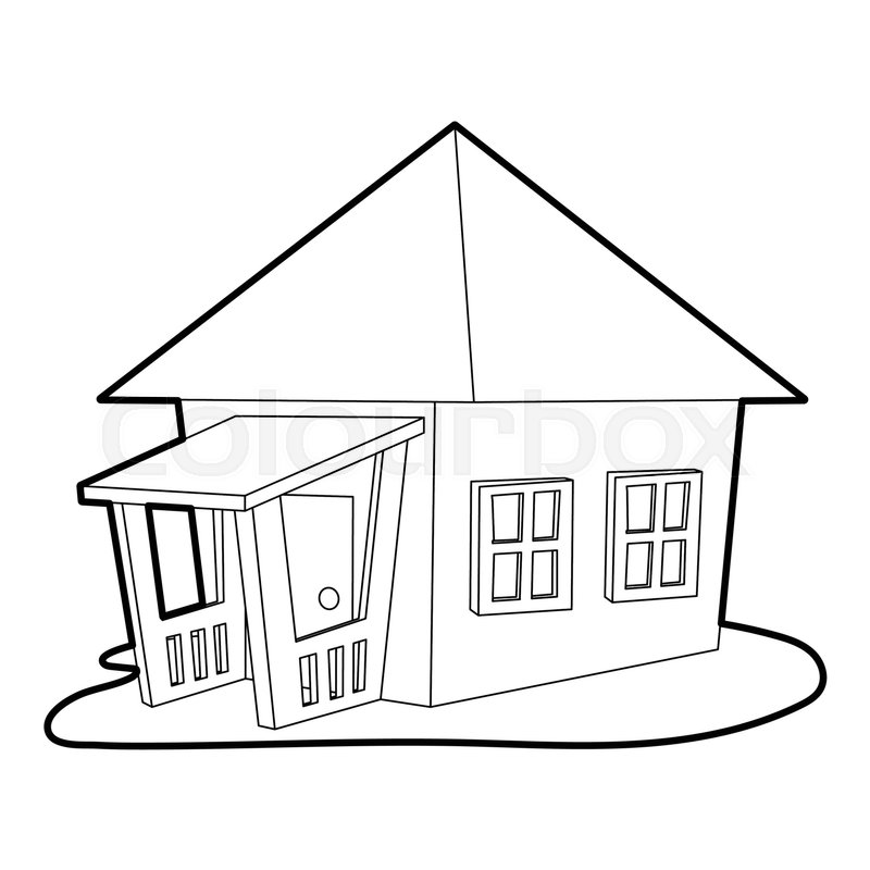 800x800 Bungalow Icon. Outline Illustration Of Bungalow Vector Icon