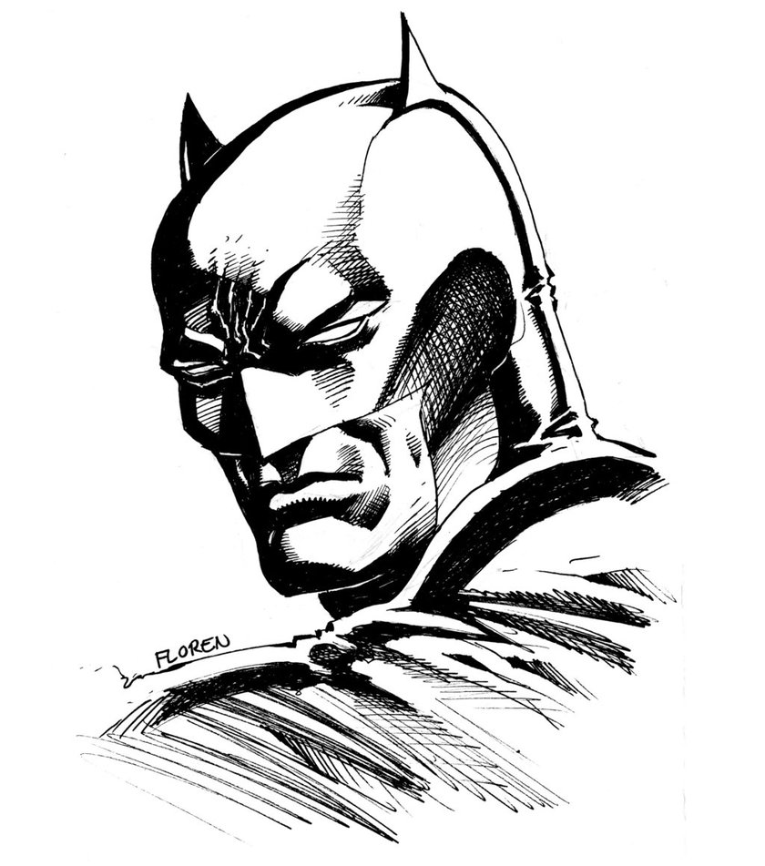 840x951 Batman Bust Drawing By Florencuevas