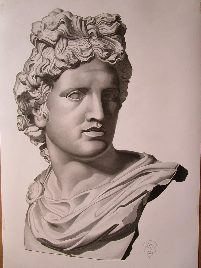 675x900 Apollo Bust Drawing Drawing By Mariyan Grozdev