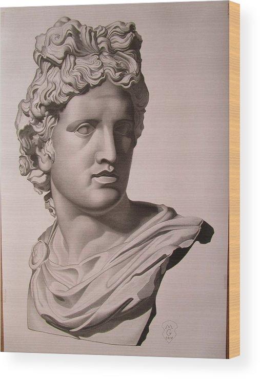 507x740 Apollo Bust Drawing Wood Print By Mariyan Grozdev