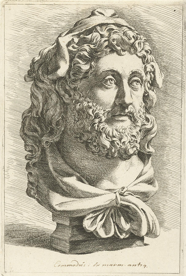 607x900 Bust Of Emperor Commodus As Hercules, Jan De Bisschop Drawing By