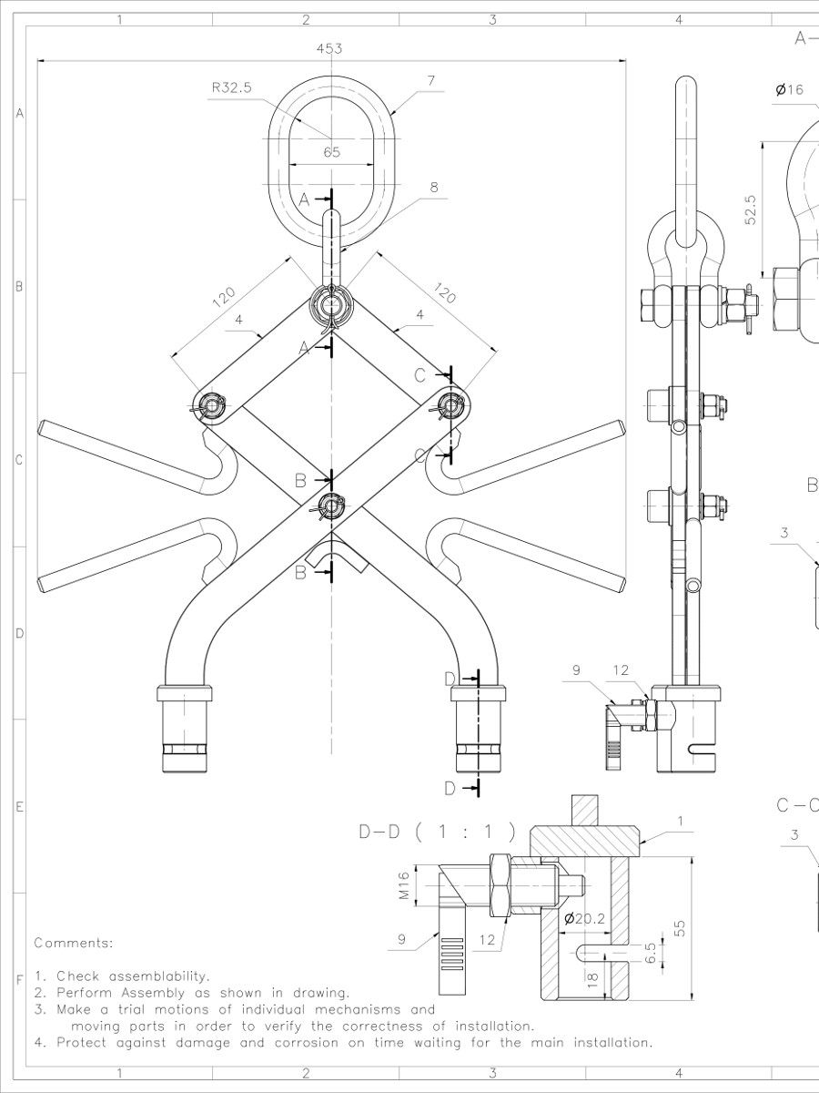 900x1200 Sling Lift 30kg 2d Cad Drawing 2.jpg Diy Lifting