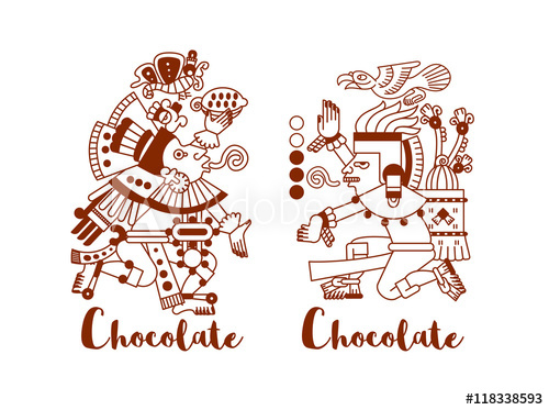 500x373 Sketch Drawing Aztec Cacao Bean, Leaves, Nibs, Pattern For Choco