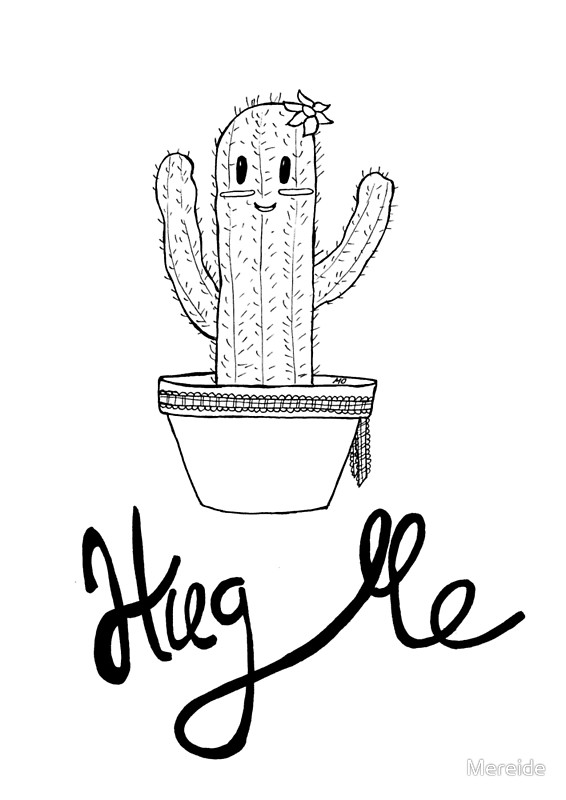 Cactus Drawing Black And White