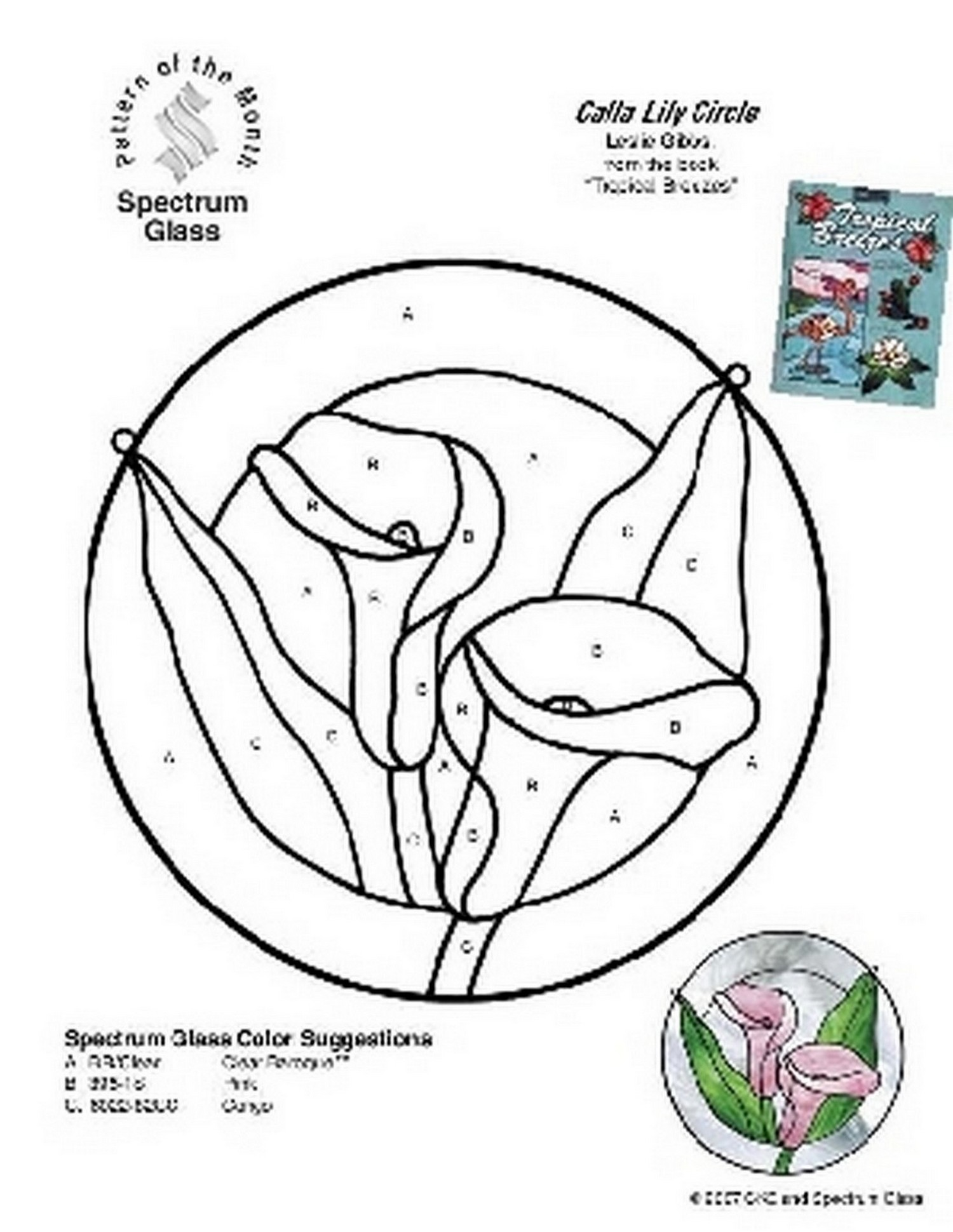 1500x1940 Free Stained Glass Pattern 2269 Calla Lily Circle Patterns By