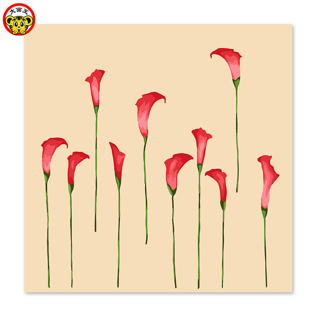 640x640 Fashion Pattern Red Calla Lily Narcissus Flowers Draw On Canvas