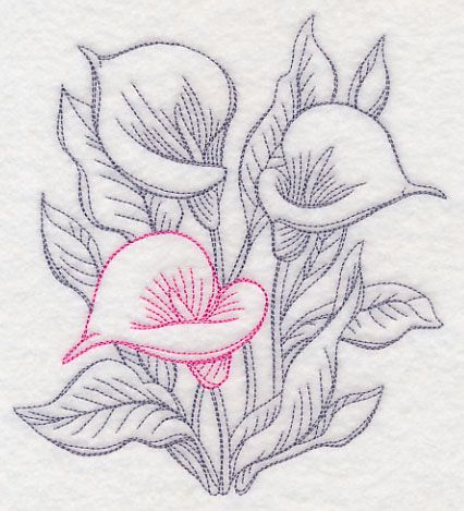 426x469 Garden Calla Lily Etching Design (M11974) From Embroidery