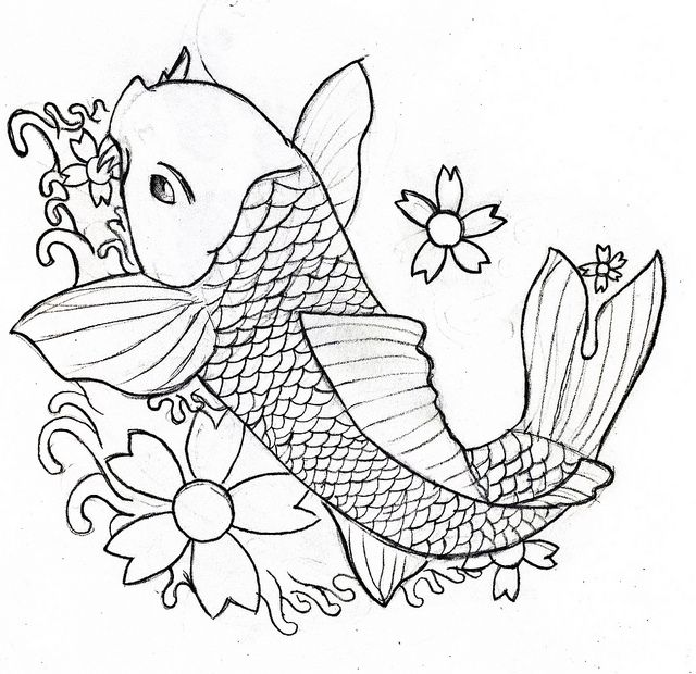 640x620 Line Drawing Koi Carp Koi Carp, Koi And Carp