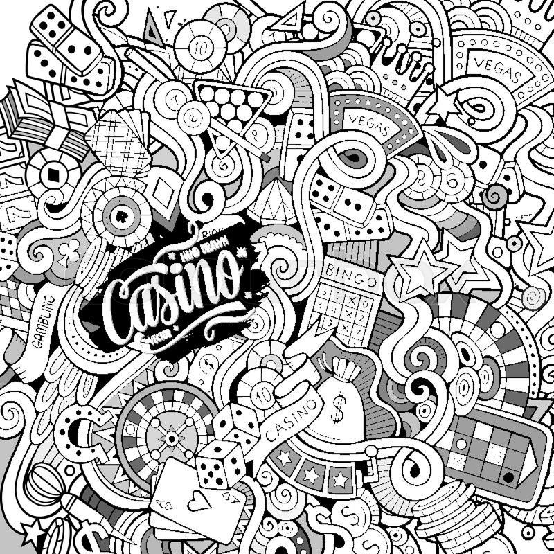 800x800 Cartoon Hand Drawn Doodles Casino, Gambling Illustration. Line Art