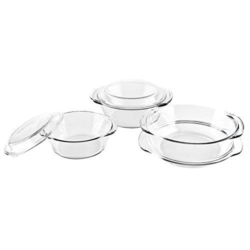 500x500 6 Pcs. Oven Borosilicate Handled Glass Bakeware Round