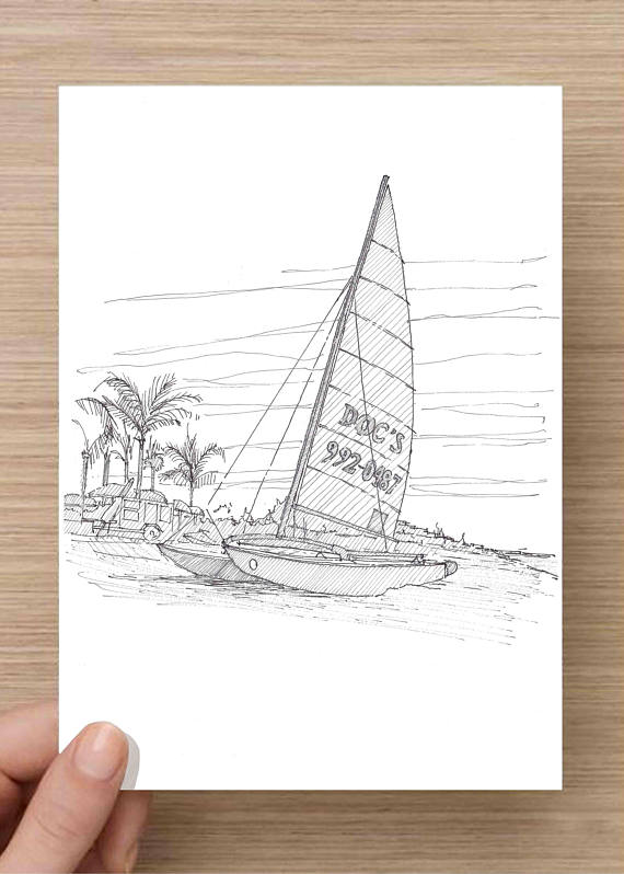 570x798 Ink Drawing Of Catamaran Sailboat On Beach In Naples Florida