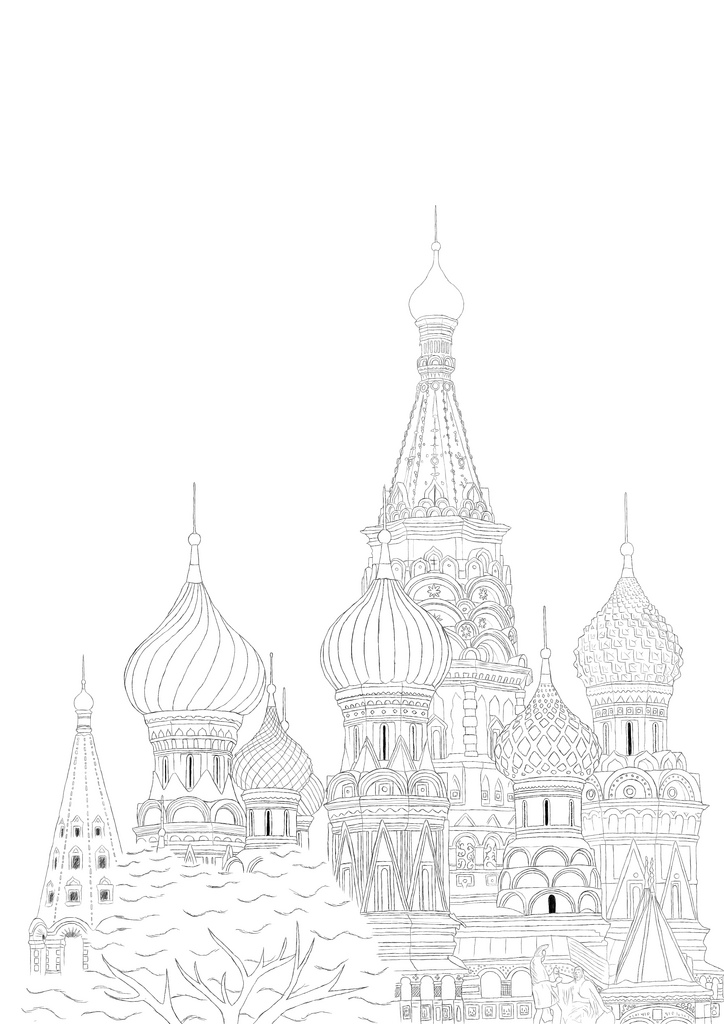 724x1024 St Basil's Cathedral Detailed Line Drawing Of St Basil'S