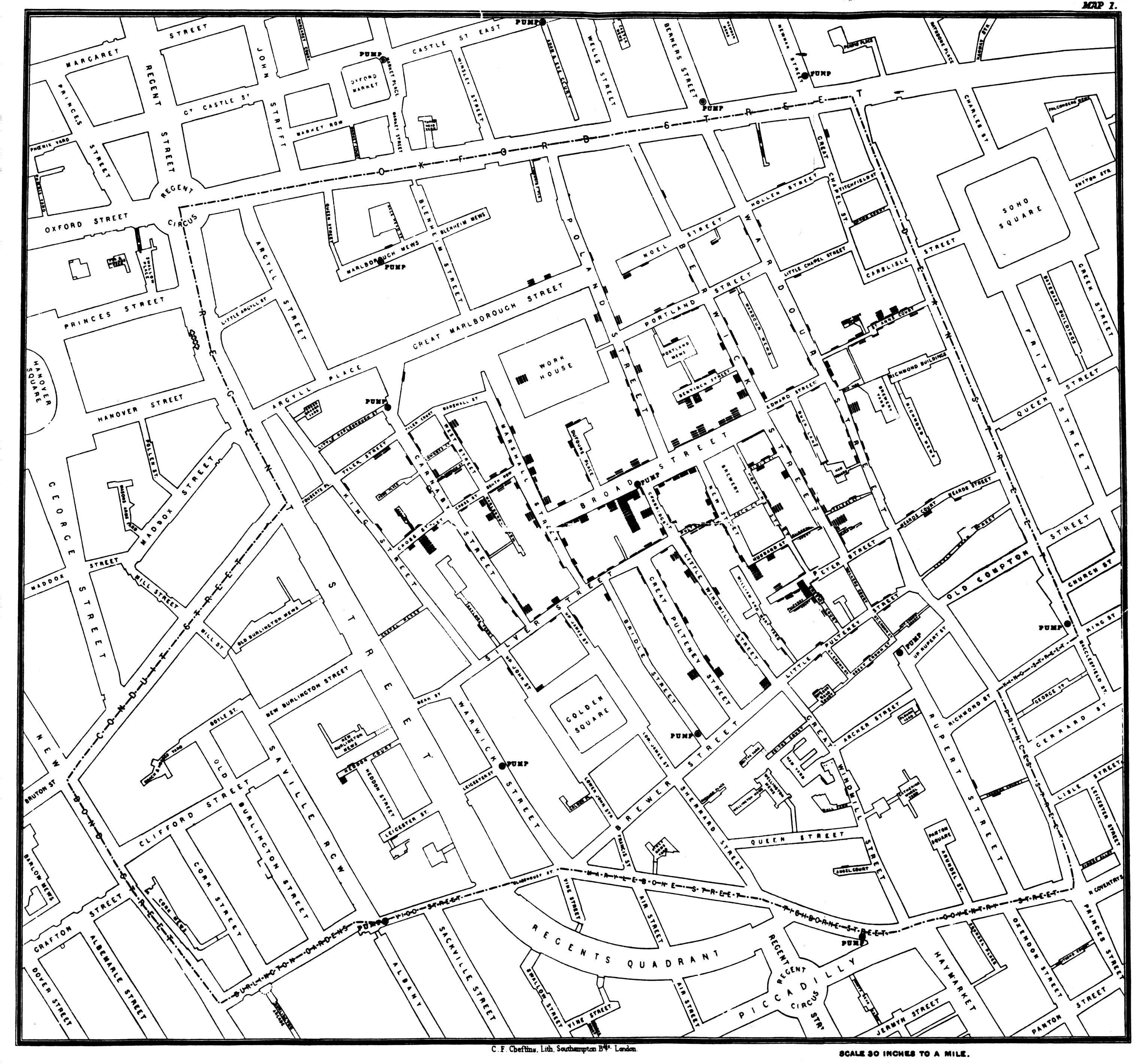3045x2840 John Snow's Famous Cholera Map. Original Map By John Snow Showing