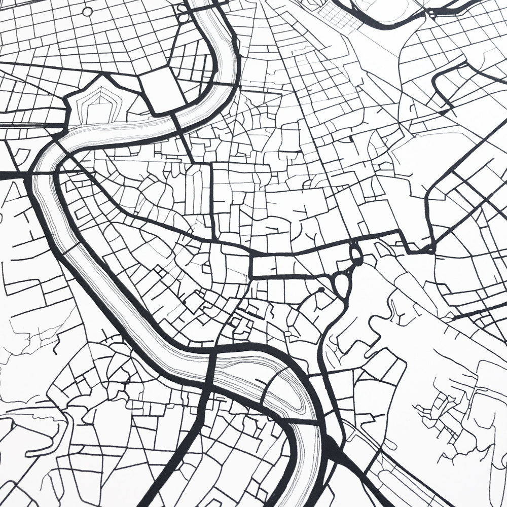 1000x1000 Rome Map Street Map Italy City Map Drawing Black And White