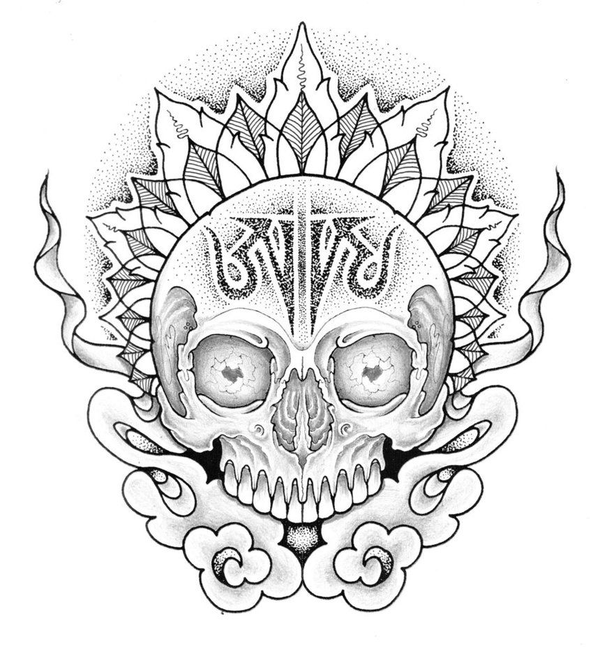 850x939 Aum Skull By Jontoogood On Art, Drawings