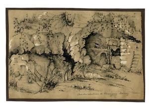 300x225 Antique French Pencil Drawing, Troglodyte Wine Cellar,