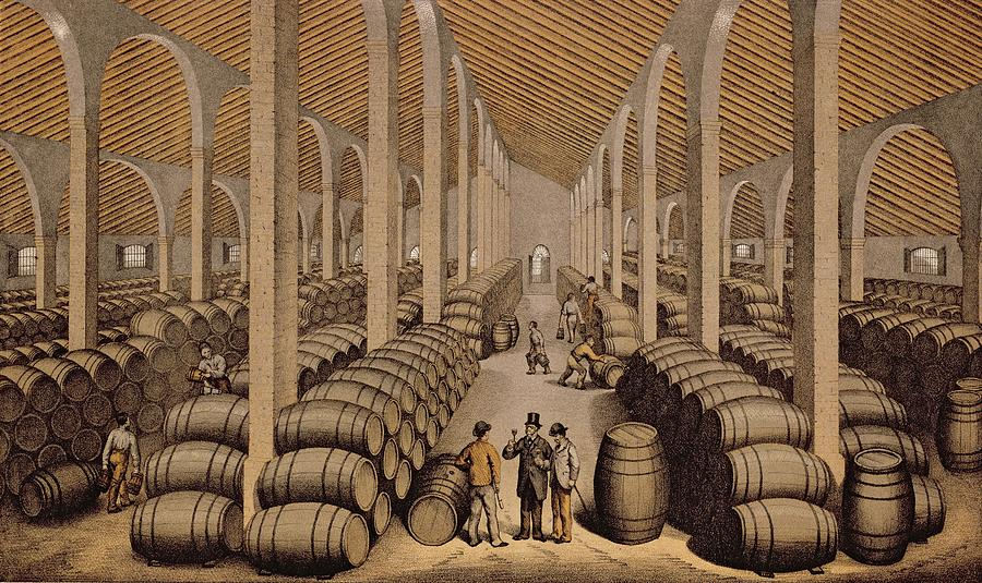 900x535 Wine Cellar At Jerez De La Frontera Drawing By Spanish School