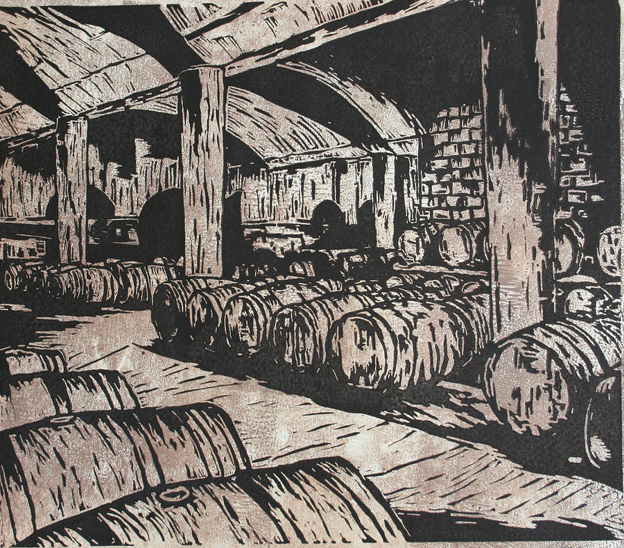 900x790 Wine Cellar Drawing By William Cauthern