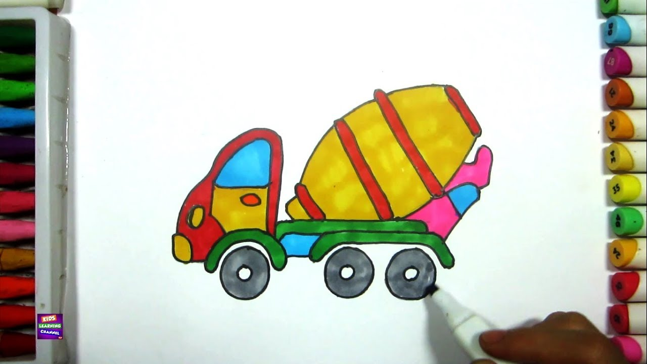 1280x720 How To Draw A Cement Mixer Truck Cement Truck Easy Drawing