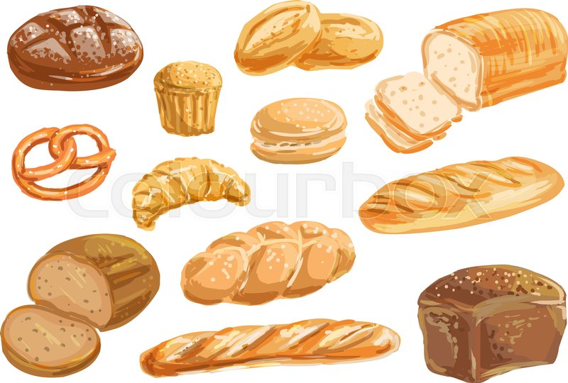 800x540 Bread, Bakery Product Watercolor Drawing Set. Fresh Loaf Of Bread