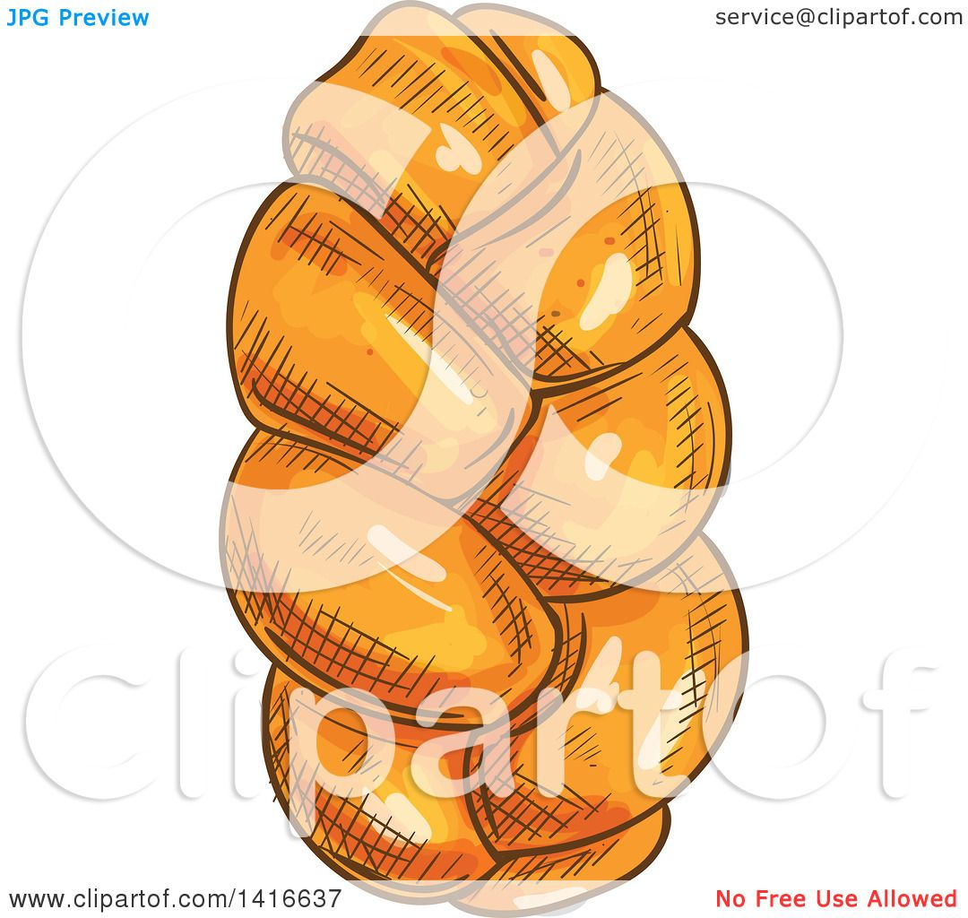 1080x1024 Clipart Of A Sketched Loaf Of Challah Bread