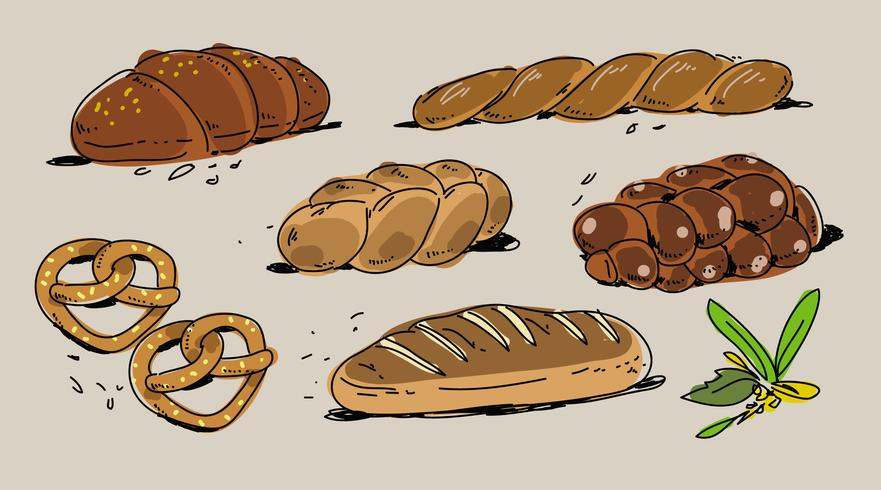 881x490 French Bakery Challah Hand Drawn Vector Illustration