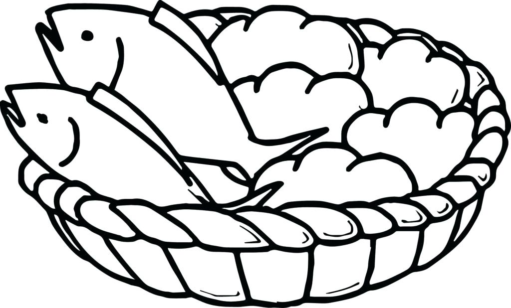 1024x618 Bread Coloring Page Bread Coloring Page 5 Loaves And 2 Fish