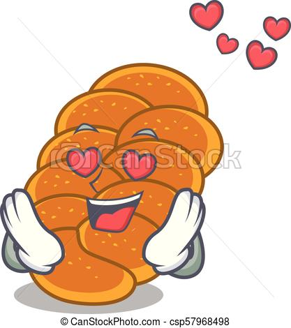417x470 In Love Challah Mascot Cartoon Style Vector Illustration Eps