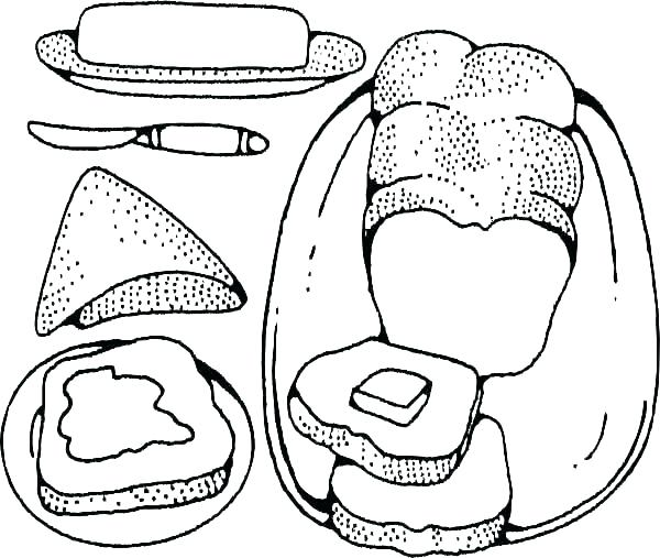 600x507 Bread Coloring Page Slices Of And Sweets Free Printable Pages