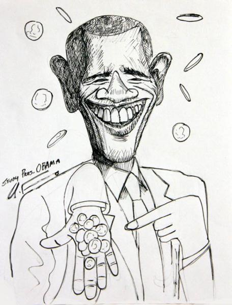 456x600 President Barack Obama Change Drawing