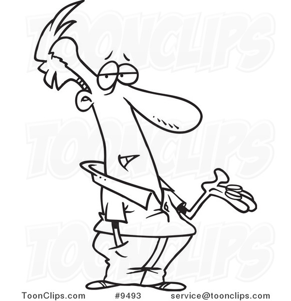 581x600 Cartoon Black And White Line Drawing Of A Guy Holding Out Change