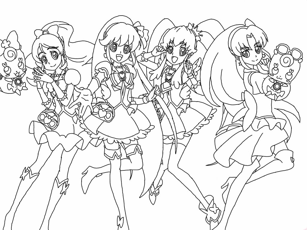 1024x768 Uncolored Happiness Charge Precure By Daniyofaceoff
