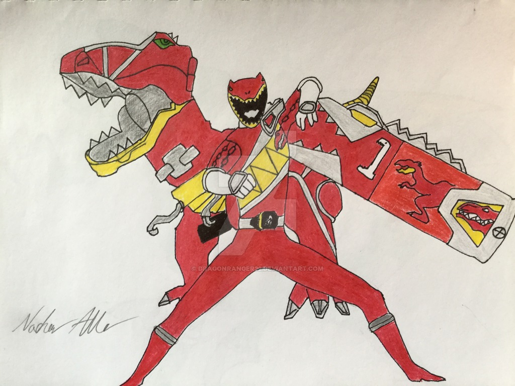 1024x768 Dino Charge Red Ranger By Dragonranger22