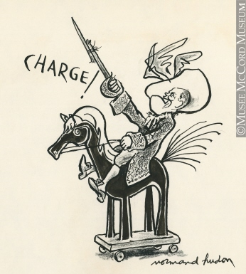346x385 M997.63.300 Charge! Drawing, Cartoon Normand Hudon Mccord