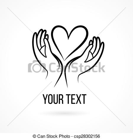 450x470 Logo With Hands And Heart. Vector Logo With Hand, Heart, Open