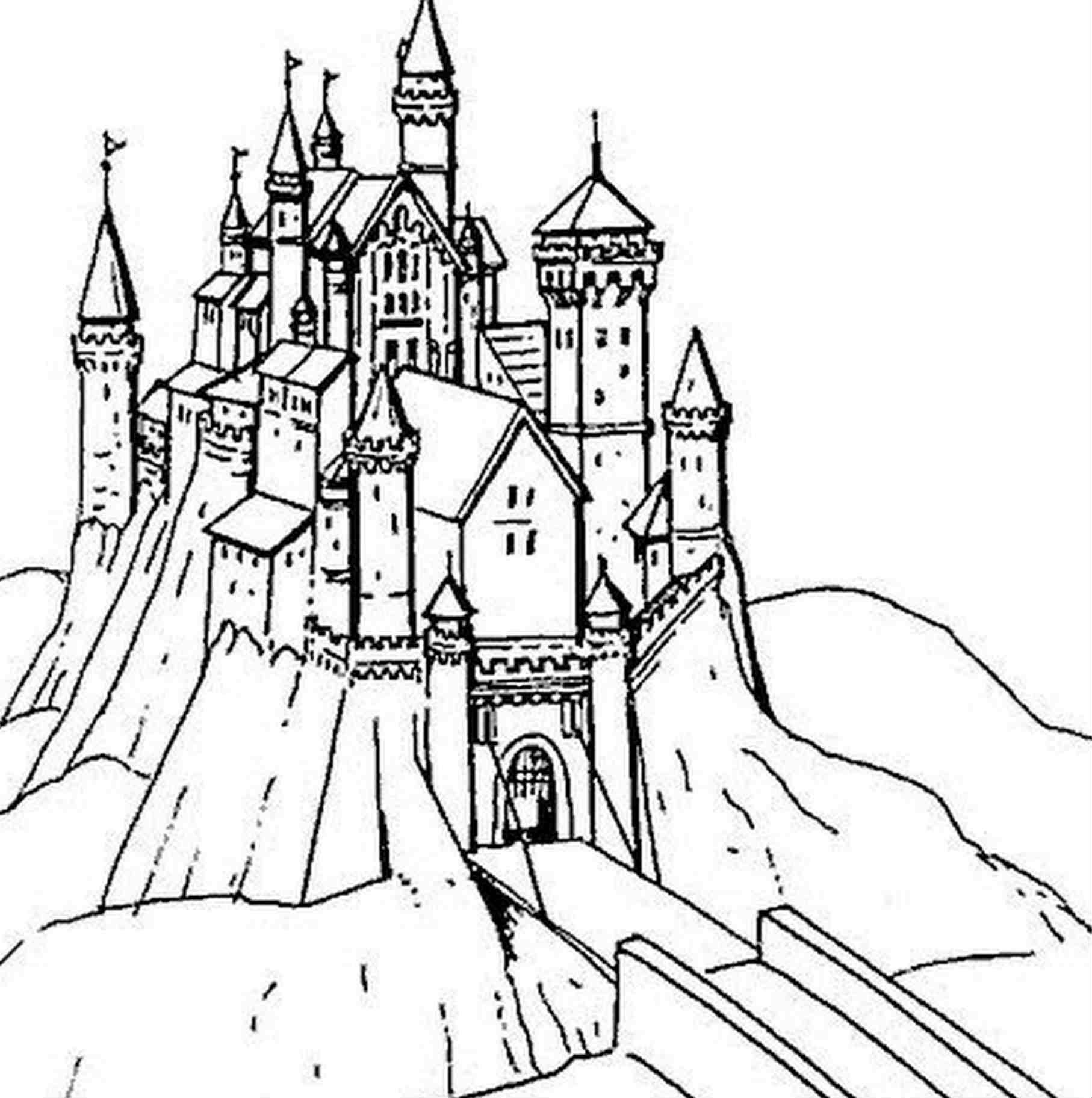 1814x1825 Coloriage Chateau