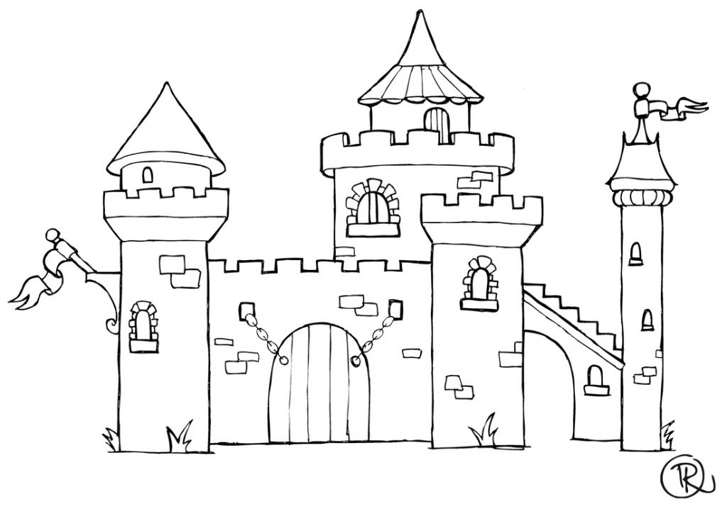 1024x721 coloriage chateau filename coloring page