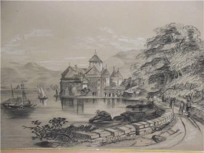 400x300 Antique Pencil Drawing Chateau De Chillon Geneva Signed G.j.