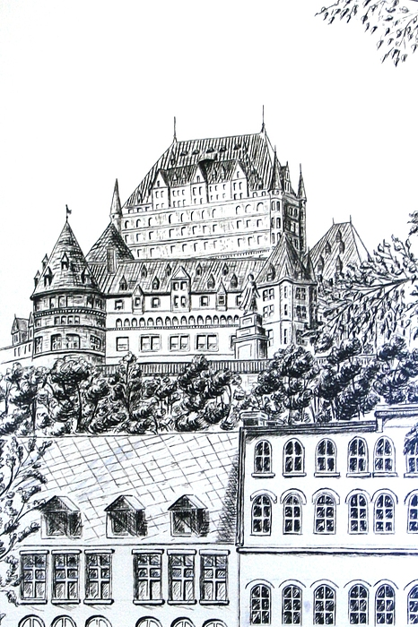 466x700 Chateau Frontenac Drawing By Janice Best