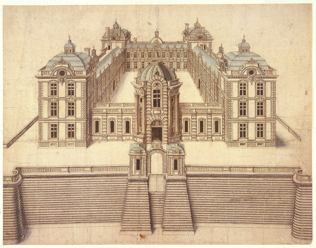 1024x802 Drawing, Perspective Rendering Of The Chateau De Verneuil, France