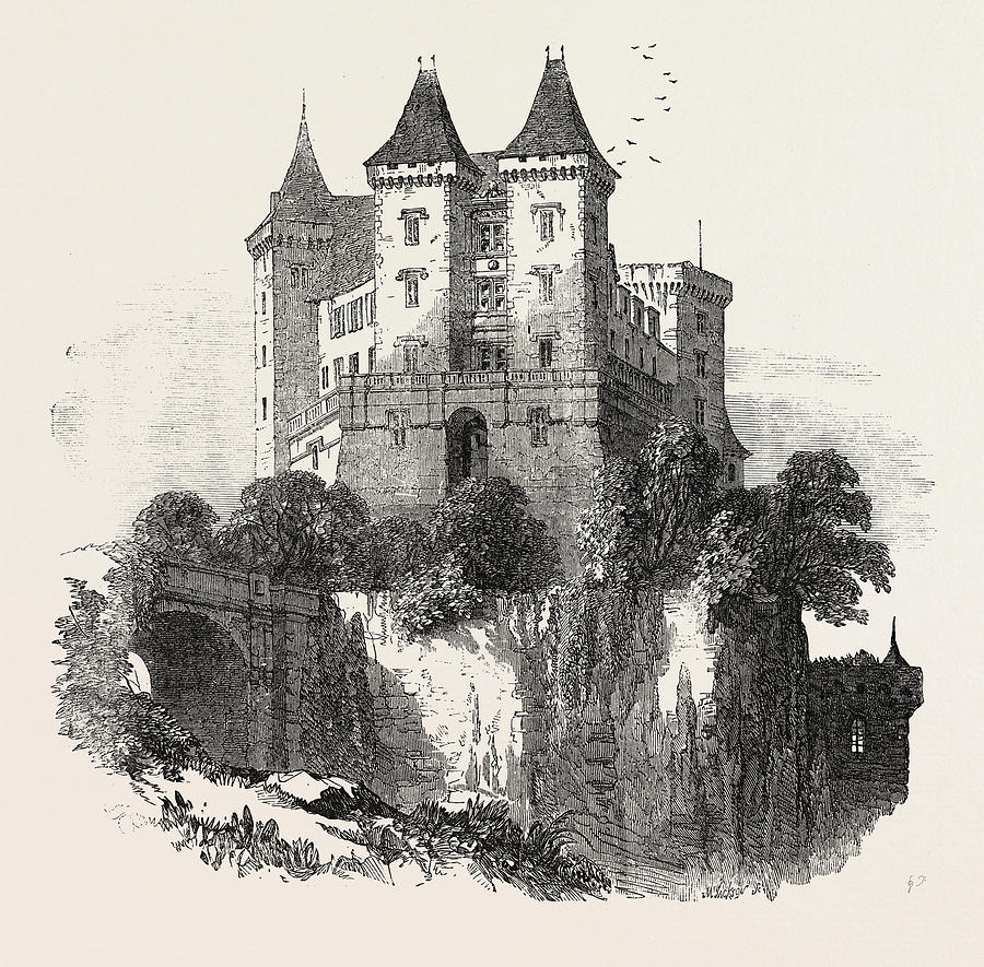900x885 The Chateau At Pau France 1854 Drawing By French School