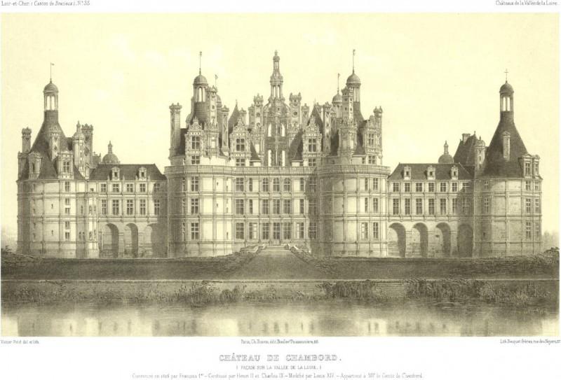 800x543 Vintage Architecture Drawing C (Chateau De Chambord) Wholesale