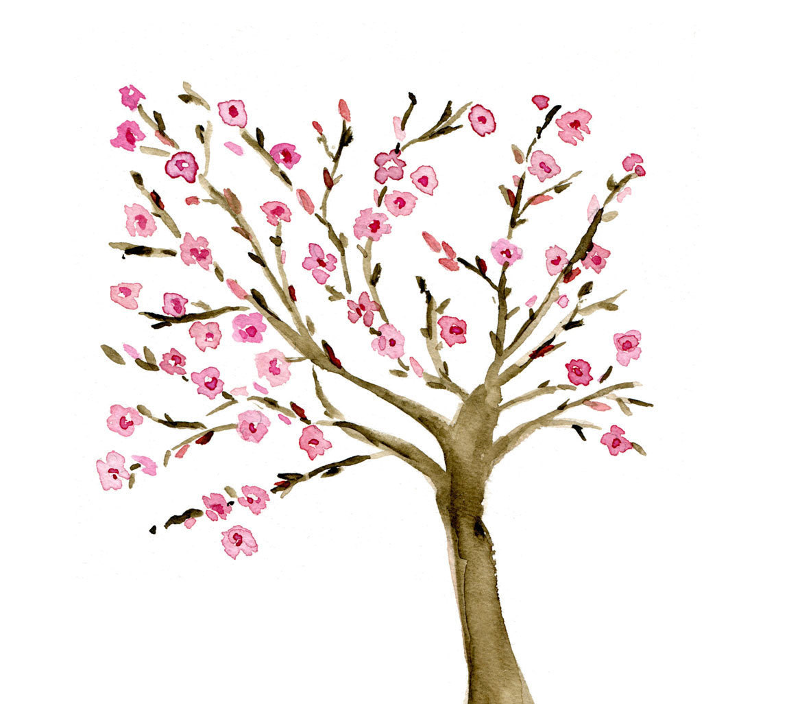 1151x1026 Watercolor Landcolor Skycolor Almond Tree Art Print Of Original