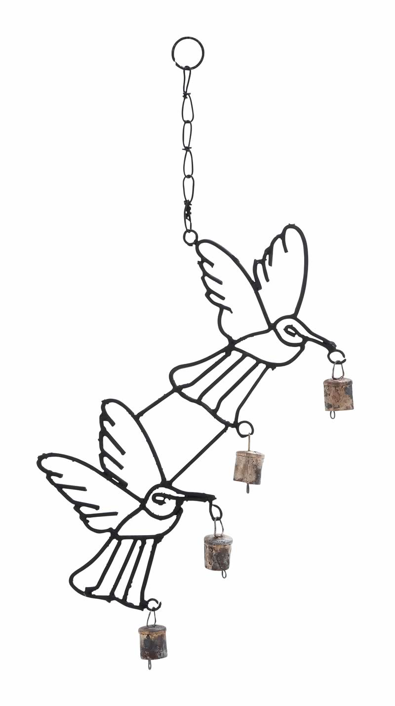 800x1430 Metal Bird Wind Chime Bells Chained Duo Small Black Uma 26740