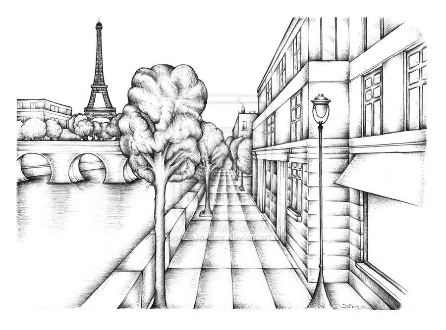 900x667 Paris France Bank The River Seine Art Ink Drawing Choice