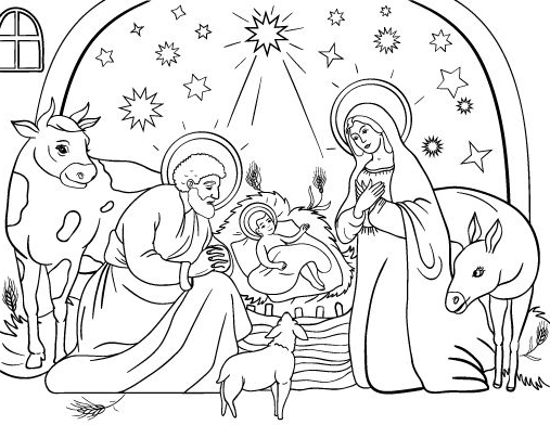 507x392 Christmas Coloring Pages Nativity Glamorous Nativity Coloring
