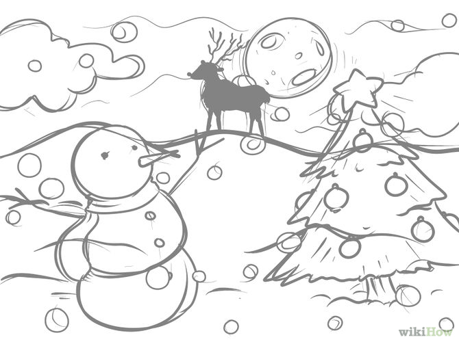 670x503 Collection Of Christmas Scene Drawing Ideas High Quality