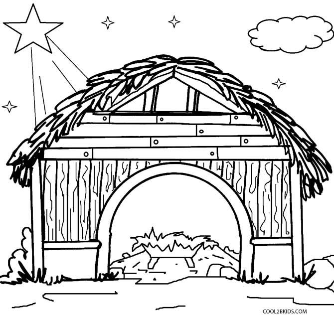 670x634 Cartoon Stable Christmas Coloring Page Printable Nativity Scene
