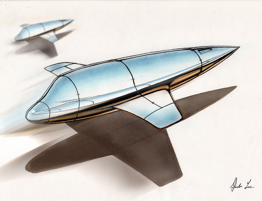 900x689 Chrome Spaceships Drawing By Gordon Lee