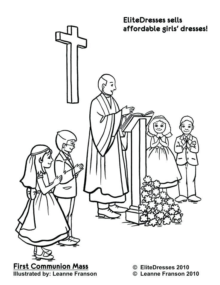 736x952 Catholic Mass Coloring Pages First Communion Mass Page To Colour